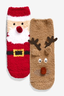 2 Pack Christmas Cosy Socks (Younger)