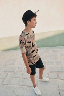 Camouflage Short Sleeve Drop Shoulder Relaxed Fit T-Shirt (3-16yrs)
