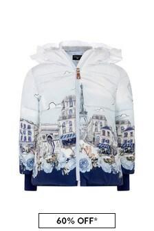 Monnalisa Girls Ivory/Blue Paris Down Padded Jacket