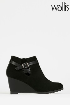 Wallis Amber Buckle Wedge Ankle Boots