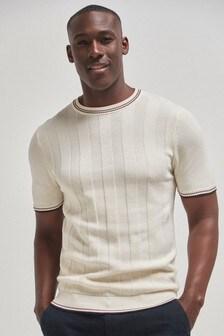 Textured Cotton Short Sleeve Crew Jumper