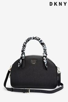DKNY Black Leather Liza Duffle Bag And Scarf Detail