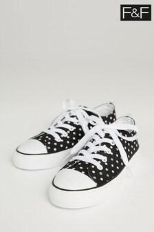 F&F Black Older Girl Polka Dot Lace-Up Shoes