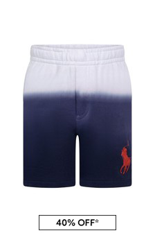 Boys White/Navy Cotton Shorts