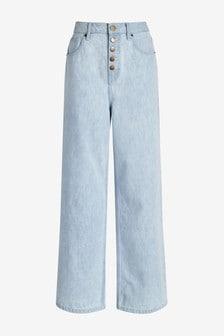 Next/Mix Pale Wash Wide Leg Jeans