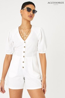 Accessorize Cream Puff Sleeve Playsuit In Pure Linen
