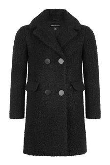 Girls Black Bouclé Coat