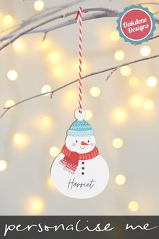 Personalised Snowman Hanging Decoration by Oakdene Designs