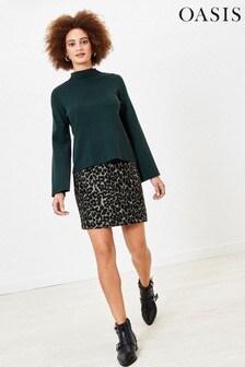 Oasis Grey Leopard Mini Skirt