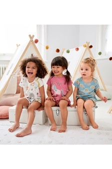 3 Pack Unicorn/Rainbow Short Pyjamas (9 شهور -8 سنوات)