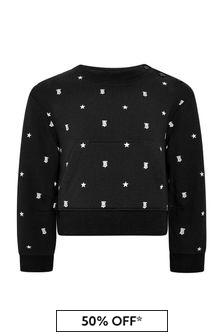 Burberry Kids Baby Girls Black Cotton Sweater
