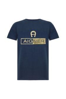 Aigner Boys Navy Cotton T-Shirt