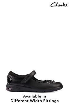 Clarks Black Leather Sea Shimmer K Shoes