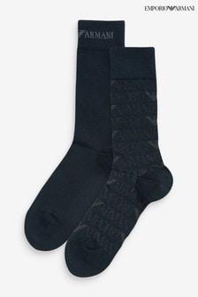 Emporio Armani Navy Socks Two Pack