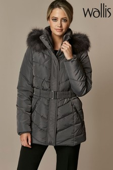 Wallis Petite Lucy Short Belted Padded Coat
