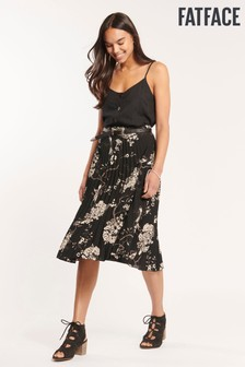 FatFace Black Perrie Oriental Pleated Skirt