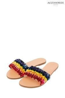Accessorize Metallic Hawaii Rainbow Sequin Slider