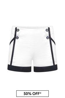 Patachou Girls White Cotton Shorts