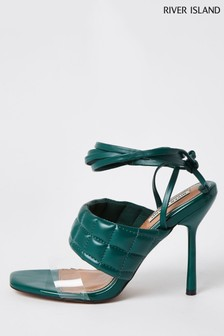 River Island Green Padded Tie Up Sandals