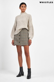 Whistles Neutral Houndstooth Button A-Line Skirt