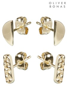 Oliver Bonas Zarco Mixed Shape Gold Plated Stud Earrings Two Pack