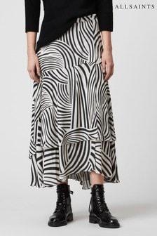 AllSaints White Zebra Layered Midi Skirt