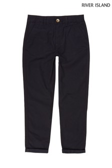 River Island Navy Casual Embroidery Chinos