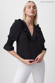 French Connection Black Crepe Light Ruffle Blouse