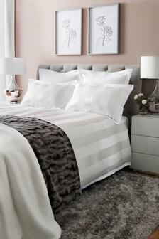 Sateen Stripe Duvet Cover And Pillowcase Set