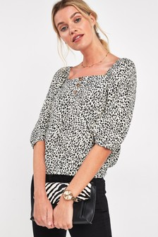Square Neck Button Top