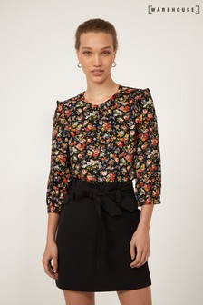 Warehouse Black Tie Waist Pelmet Mini Skirt