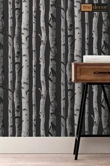 Fine Décor Natural Dark Distinctive Birch Tree Sidewall Wallpaper