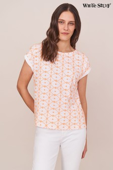 White Stuff Coral Geo Embroidered T-Shirt