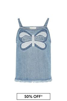 Girls Blue Cotton Denim Top