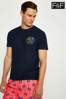 F&F Navy Santa Monica Chest Sign Off T-Shirt