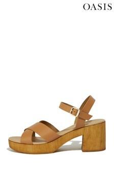Oasis Tan Leather Block Heel Sandals