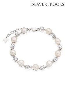 Beaverbrooks Silver Cubic Zirconia And Freshwater Pearl Bracelet