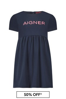 Aigner Baby Girls Navy Cotton Dress
