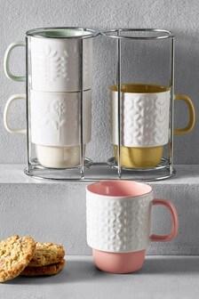 Set of 4 Embossed Flower Stacking Mugs