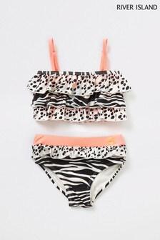River Island Beige Animal Print Tiered Bikini