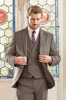 Tailored Fit Dogtooth Suit: Jacket