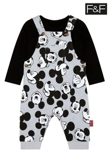 F&F Black Mickey Mouse™ Dungaree Set