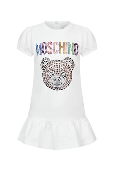 Moschino Kids Baby Girls White Cotton Dress