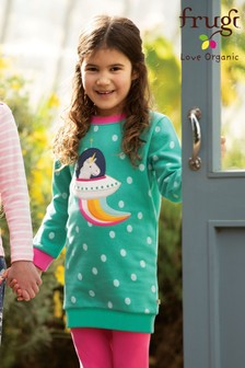 Frugi Organic Cosy Brushback Jumper Dress With Appliqué