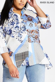 River Island Blue Print Asymetric Hem Shirt