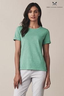 Crew Clothing Green Slub Cotton T-Shirt