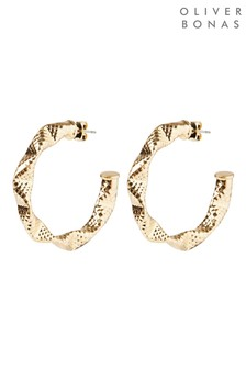 Oliver Bonas Whitney Folded Texture Metallic Hoop Earrings