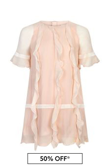 Chloe Kids Girls Pink Silk Dress