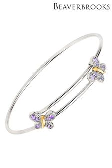 Beaverbrooks Children's Mini B Silver/Gold Plated Crystal Butterfly Bangle