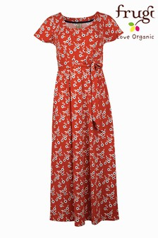 Frugi Organic Cotton Orange Floral Jersey Dress